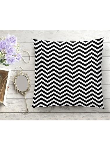 Real Homes Siyah Beyaz Zigzag Desenli Dijital Baskılı Yastık Kırlent Kılıfı Renkli